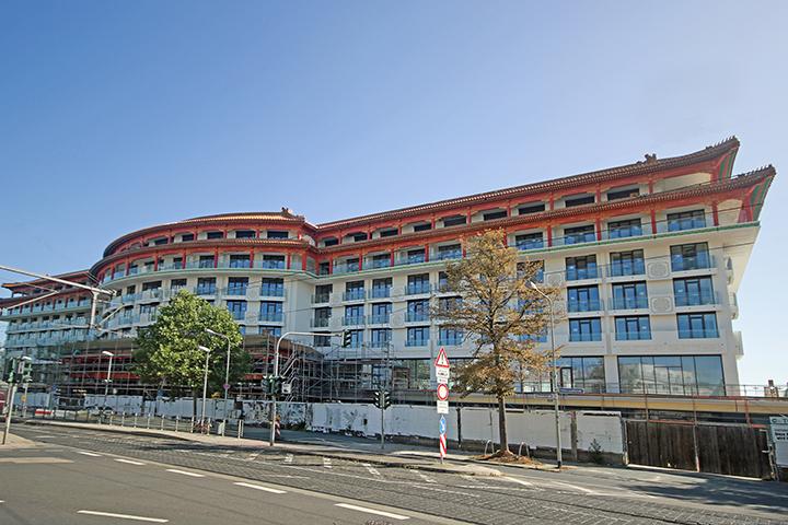 Huarong Soluxe Hotel, Rennbahnstraße, Frankfurt am Main, Lageplan für Bauantrag, Bauabsteckung, Schlusseinmessung Gebäude für Katasternachweis